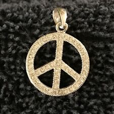Sterling Silver ~1 grams Sparkly Peace Sign In Sparkly Circle Charm #B484