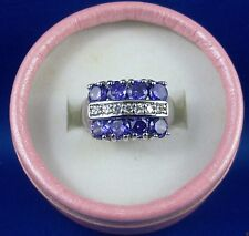 10k White Gold-filled Amethyst & Topaz Ladies Ring (8) New Fashion Ring - In Aus