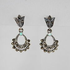Genuine 925 Sterling Silver Vintage Style Marcasite Small Dangle Drop Earrings