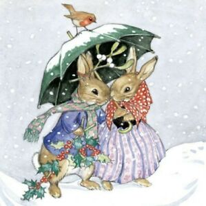 Mr & Mrs Rabbits in snow-Charity Xmas Card - Museums Galleries  SINGLE CARD 13cm