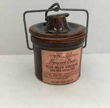 vintage small brown cheese crock with lid Harry and David cheese label on front