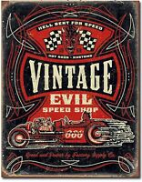 Vintage Evil Speed Shop Metal Tin Sign Rat Hot Rod Garage Shop  Wall Decor
