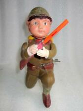 Vintage Old Rare Head And Gun Moving Soldier Wind Up Celluloid Toy MT Mark Japan