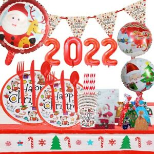2022 Christmas Series Disposable Tableware Balloon Set New Year Party Decoration