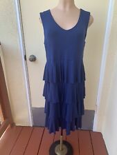 Style & Co Dark Blue Tiered Jersey Cotton Stretch Sleeveless CASUAL MINI DRESS L