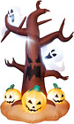 DR.DUDU 8 Ft Halloween Inflatable Ghost Tree with Pumpkins, Blow up Lighted Tree