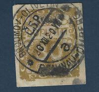 1919 CZECHOSLOVAKIA STAMP 30 POSTAGE DUE GREAT CD CANCEL BROUMOV-OLIVETIN CSP
