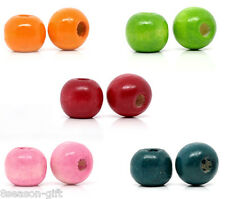 2500 Mixed Dyed Round Wood Spacer Beads 10x9mm