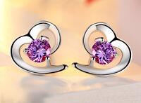 Luxus Herz Ohrringe Zirkonia 925 Sterling Silber Ohrstecker Heart Rhodiniert
