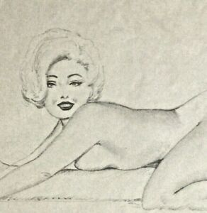 TED WITHERS ORIGINAL Vintage Pin-Up Drawing MARILYN 62 PINUP MidCentury 11x8.5