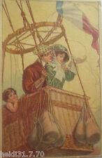 """""""Carte d'artiste,Ballon à air chaud,Homme,Femmes,Enfants,Drapeau"""" 1902 9165"""