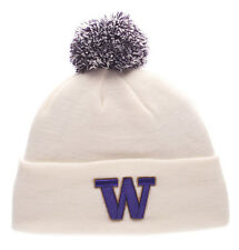 WASHINGTON HUSKIES WHITE NCAA  VINTAGE KNIT BEANIE POM Z  SKI CAP HAT NWT!