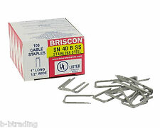 "Box 100 Briscon SN 40 B SS 302 Stainless Steel Cable Staples 1/2"" Wide X 1"" Long"