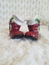 Fitz And Floyd Christmas Santa Boots Salt & Pepper Shaker Set- Euc