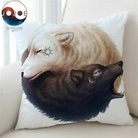 Yin And Yang Wolves  Cushion Cover Wolf Pillow Case Animal Throw Cover