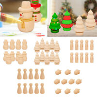 10Pcs Natural Unfinished Wooden Peg Doll DIY Craft Dolls Xmas Wedding Decor
