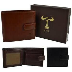 Mens Tabbed LEATHER WALLET by Mala; Toro Collection Stylish Change Gift Boxed
