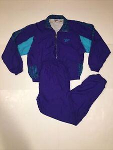 Vtg 90s Colorway REEBOK Windbreaker Tracksuit Outfit Suit Jacket Pants Set Large