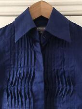 T.M.Lewin Woman Women's Blue Cotton Pleated Long-Sleeved Blouse Shirt UK 8 EU 36