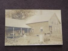 HUSBAND & WIFE IN FRONT OF FARMHOUSE WITH THEIR HORSE - VTG  REAL PHOTO POSTCARD