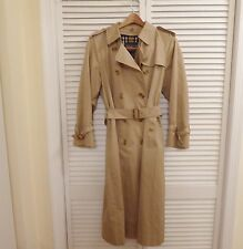 Burberrys For Saks Women's Tan SZ 10P Trench Coat With Nova Check Liner