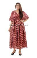Vacances Haut Grande Taille Bordeaux Caftan Robe Tunique Coton Femme Indien Long