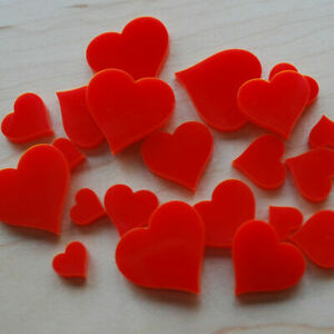 Red Acrylic Hearts - Various Sizes - Pack of 50