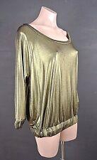 Rachel Roy Top XL Blouson Formal Womens Gold Satin Shimmer Pullover Blouse NWT