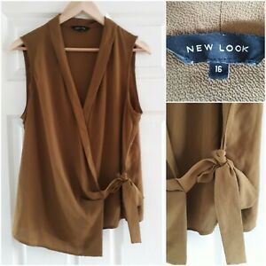 New Look Brown Wrap Style Blouse Size 16 Sleeveless Tie V-Neck Workwear Smart