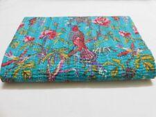 Indian Handmade Bird Kantha Quilt Block Print Bedspread Turquoise Queen Size