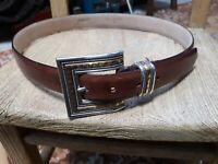 Chico's Brown Genuine Leather Belt Bronze Silver Tone Buckle Sz M
