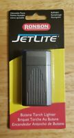 Ronson JetLite Butane Torch Lighter Adjustable Flame Refillable Dk. Gray w/Lines
