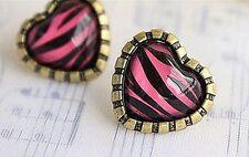 Rosa vintage zembra stampa animale resina cuore orecchini