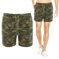 Brave Soul Mens Designer Orange Panel Camouflage Swimming Trunks Beach Shorts