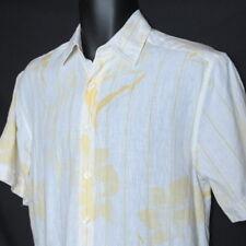Cubavera White Floral Linen Button Front Shirt Sz Small Short Sleeve