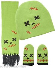 86170 Green Zombie Baby Scarf Mitten Hat Set Sourpuss Monster Halloween INFANT