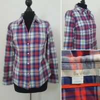 Ladies BODEN Check Shirt Sz 10 Petit Blue White Red Plaid Long Sleeve Cotton (5)