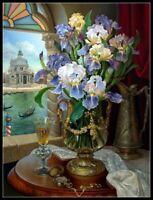 Memories of Venice. Irises - Chart Counted Cross Stitch Pattern Needlework DIY