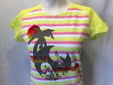 HH Helly Hansen Women's Yellow Pink Striped Short Sleeve T-Shirt Size Large
