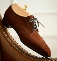 Handmade Men's Brown Suede Wing Tip Brogues Toe Style Dress/Formal Oxford Shoes