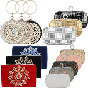 Wedding Bridal Prom Purse Handbags Beads Crystal Clutches Rhinestone Evening Bag