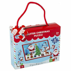 Glitter Christmas Puzzle 45 Piece Kids Girls Boys Xmas Stocking Filler 3+