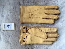 Winter Peccary Leather Gloves Hand Sewn Cashmere Lining wrist fastener