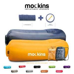 Mockins Inflatable 2 Pack Navy & Saffron Blow Up Lounger Beach Sofa Bed Chair