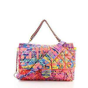 Chanel Chain Flap Bag Quilted Printed Foulard Large