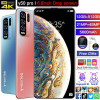 "Y50Pro 12GB+512GB Smartphone 6.8""Unlocked Cell Phone Dual SIM Android 10"