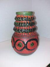 Rare Scheurich Keramic Vase 269-22 Exciting Fat Lava WGP MCM in Orange and Green