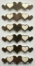 Artoz Artwork 3D-Sticker, Bordüre Herzen silber, Hochzeit, Liebe