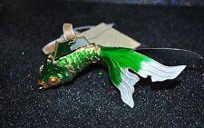 CLOISONNE PRECIOUS AQUARIUM GOLDFISH Articulated Enamel Ornament Green