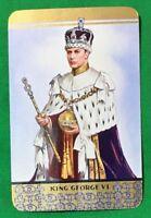 Playing Cards Single Card Old Vintage KING GEORGE VI Royal CROWN Royalty Art 1